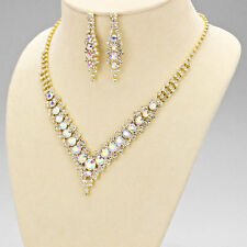 Gold AB Cascading Crystal V Shaped Necklace Set