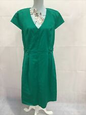LONG TALL SALLY Ladies Green Stretch Shift Dress With Buckle Detail UK16 VGC