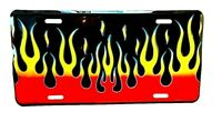 """Firefighter's FLAMES License Plate - Fire colors on Embossed Metal  - 6"""" x 12"""""""