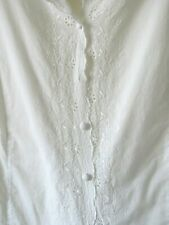 MARKS & SPENCER WHITE BLOUSE TOP BRODERIE  ANGLAIS COTTON CORSET TIE BACK Sz 20
