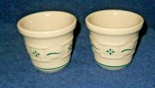 Longaberger Pottery Votive Candle Holders Green Woven Tradition Set-2