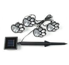 4 Dog Cat Animal Paw Print Lights Solar Powered Garden Lighting Xmas Decorative