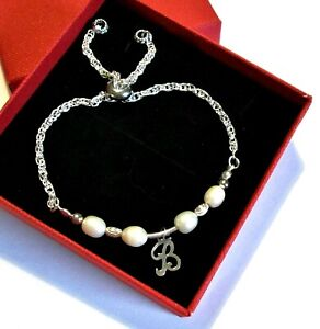 925 Sterling Silver *Initial* pendant slider Chain bracelet  *in a gift box*