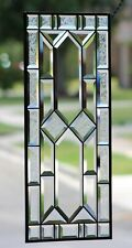 """Traditional  Clear and Beveled Stained Glass Window Panel ,Hanging 29 1/4"""" x 13"""""""