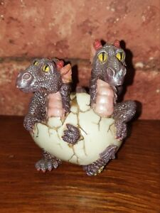 Dragon Twins! Figurine by Shudehill of Twin Baby Dragons Hatching From Their Egg