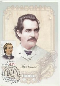 2021 , Moldova ,The day of commemoration of Mihail Eminescu , Poet ,maxicard