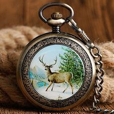 Retro Steampunk Hand Winding Mechanical Pocket Watch Gift Elk Moose Pendant