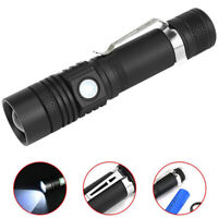 T6 LED 4Modes USB Rechargeable 18650 Flashlight Torch Zoom Lamp Light New L PM