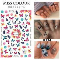 3D Butterfly Nail Stickers Waterproof Nail Art Decal Pink Flower DIY Decoration