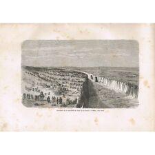 Néfiche vers Suez GRAVURE Ouverture de la Tranchée du Canal d'eau douce XIXè S