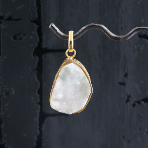 White Color Natural Sugar Druzy Gold Plated Handmade Necklace Pendant Jewelry