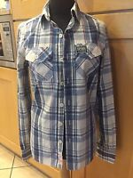 MENS SUPERDRY BLUE /WHITE /RED CHECK SHIRT SIZE SMALL - IN EXCELLENT CONDITION !