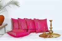 "Pink Indian Ethnic Mandala Silk Brocade Cushion Covers Handmade 16"" Zip Back"
