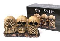 "See, Hear & Speak No Evil Large Skull Statue 9.25"" Resin"