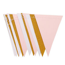Gold Letter Happy Birthday Bunting Banner Paper Flag Garland Party Hanging Decor