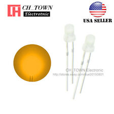 100pcs 3mm Diffused White Color Orange Light Round Top LED Emitting Diodes USA