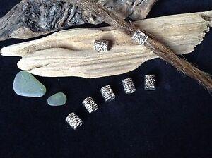 Dreadlock Beads 6 x Silver 5mm Hole Elven Dread Tubes Viking Celtic Beard Beads