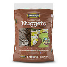 NuScape NS8ET Rubber Mulch Nuggets Ground Cover, Brown, 0.8 Cu.ft.