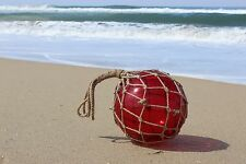 Large Vintage Japanese Fishing Float ~Red Glass with Rope Netting
