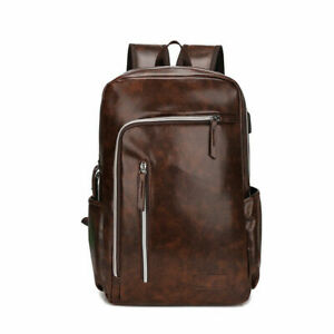 New Mens Leather Travel Backpack Laptop School Satchel Shoulder Notebook Bag BL