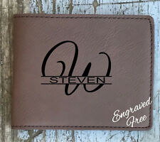 Mens Wallet Personalized Leather Groomsman Best Man Leatherette Engraved