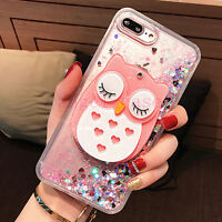 Cute Owl Mirror Bling Flowing Liquid Soft Phone Case Cover for iPhone 11 Pro Max