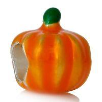 PUMPKIN_Small Bead for Silver European Charm Bracelet_Orange Thanksgiving Pie