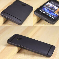 for HTC ONE M7 - Black Rubber TPU Gel Hard Rubber Case Cover w/ Screen Protector
