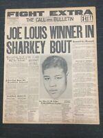 Joe Louis vs Jack Sharkey - Boxing - 1936 San Francisco Newspaper