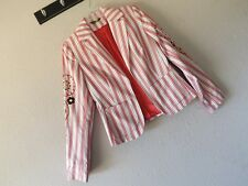 New OILILY 36 STRIPE EMBROIDERED JACKET Blazer Open NAUTICAL ANCHOR Floral US 6