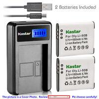 Kastar Battery LCD Charger for Olympus Li-50B & Stylus 1020 Stylus 1030SW XZ-1