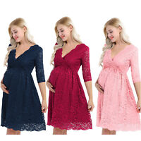 Pregnant Womens Maternity Dress Floral Lace Half Sleeve Skirt Elegant Party Wear