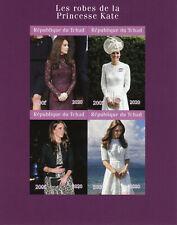 More details for chad royalty stamps 2020 mnh princess kate middleton dresses fashion 4v impf m/s