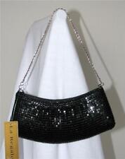 LA Regale Evening Purse Handbag Black Sequins NEW TAG Clutch Chain Strap Dressy