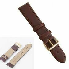 Black/Brown Retro Genuine Leather Wrist Watch Band Strap Women Men Steel Buckle