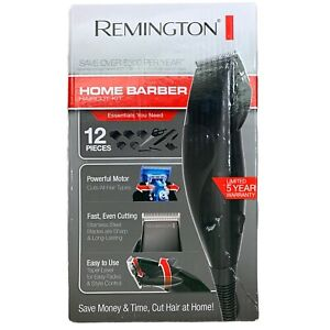 Remington Home Barber Haircut Kit 12 Pieces Hair Clippers Black Stainless Steel