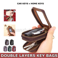 Double Layers Car Key Bag Holder Case Home PU Leather Storage Organizer Wallet