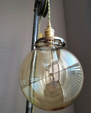 "8"" Clear Glass Globe, 4 inch fitter size - Pendant lamp shade, vintage lighting"