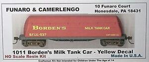 Funaro F&C HO Borden's Milk Tank Car, yellow decals  Kit 1011