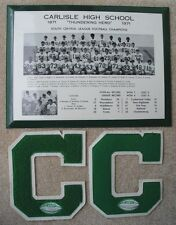 1971 Carlisle High School Football Team Picture Metal Sign & 2 Letters Champions