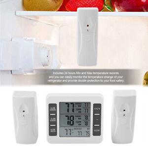Wireless Digital Freezer Thermometer 2 Sensors Indoor Outdoor Audible Alarm DI