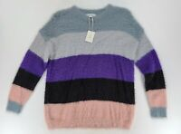 PRMA Nordstrom Sweater Multi Color Block Pullover Fuzzy Cozy XS NWT
