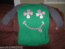 L.O.L Vintage Green Four Leaf Clover Smiley Face Size M  Women's NEW LAST ONE