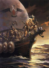 "Authentic Frank Frazetta Print KANE ON THE GOLDEN SEA  #99  17 X 23"""