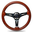 NRG Steering Wheel Classic Wood Grain 350mm w/ Black Chrome Spoke 3