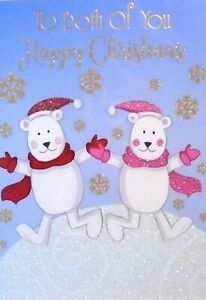 TO BOTH OF YOU CHRISTMAS CARD ~ Glittered Polar Bears In Snow & Snowflakes