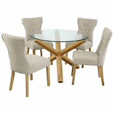 Solid Oak Criss Cross Wooden Glass Dining Table Oak Dining Room Furniture