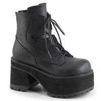 "*Demonia 4"" Block Heel Platform Black Vegan Ankle Rock Boots Goth Punk Womens 6"