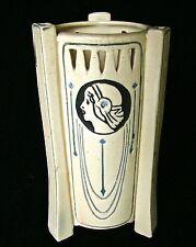 "WELLER 8 1/2"" ETHEL CREAMWARE THREE SIDED ART DECO  FEMALE FACE VASE CIRCA 1915"