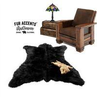 Black Bear Skin Rug - Plush Shag Faux Fur - Bonded Suede Lining - Made in USA